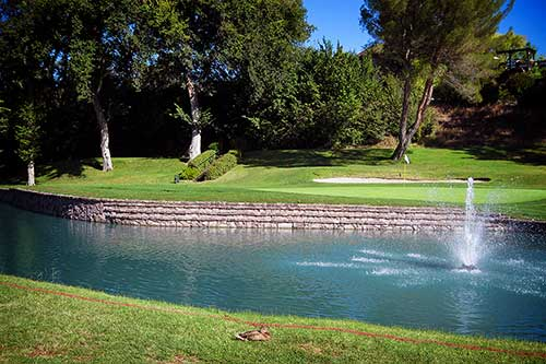 Brick Surrounding Pond - Outdoor - Golf Course